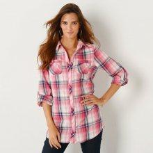 Blancheporte Košile s potiskem, kostkovaná růžová 36