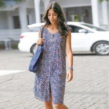 Blancheporte Šaty s potiskem a knoflíky námořnická modrá/růžová 36