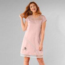Blancheporte Šaty z bavlny, lnu a krajky šedorůžová 42