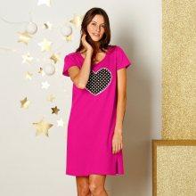 Blancheporte Noční košile s krátkými rukávy s potiskem srdce růžová 42/44