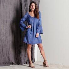 Blancheporte Macramé šaty v rozšířeném střihu modrá 36