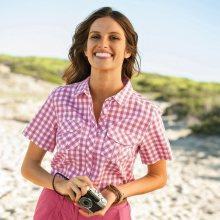 Blancheporte Košile s potiskem kostiček a krátkými rukávy růžová 40