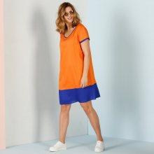 Blancheporte Dvoubarevné šaty s krátkými rukávy oranžová/námořnická modrá 42