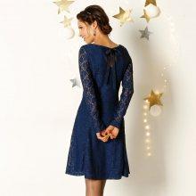 Blancheporte Krajkové šaty s dlouhými rukávy modrá 38