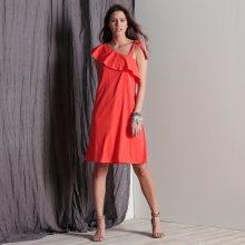 Blancheporte Volánové šaty s odhalenými rameny korálová 38