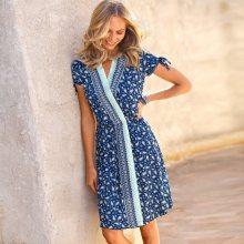 Blancheporte Šaty s překřížením a kašmírovým vzorem indigo/bílá 36