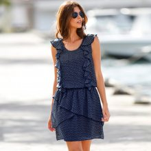 Blancheporte Volánové šaty s potiskem indigo/bílá 36