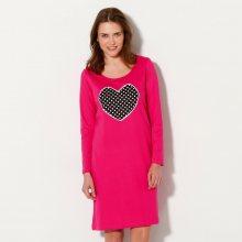 Blancheporte Noční košile s dlouhými rukávy s potiskem srdce růžová 34/36