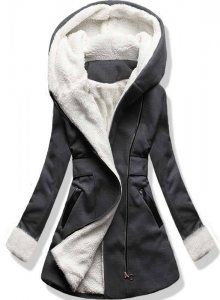 Grafitový zimní kabát s kapucí