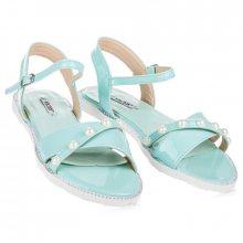Ploché tyrkysové sandály s perličkami