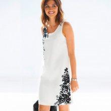 Blancheporte Rovné šaty s výšivkou slonová kost/černá 42