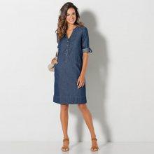 Blancheporte Denimové šaty s rukávy na ohrnutí modrá 36