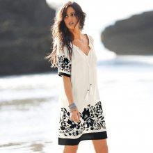 Blancheporte Šaty s potiskem na spodním lemu režná/černá 42