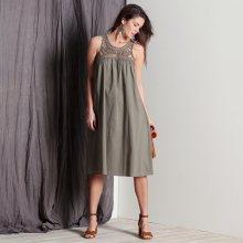 Blancheporte Šaty s macramé náprsenkou khaki 38