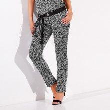 Blancheporte Vzdušné kalhoty s grafickým vzorem černá/bílá 36