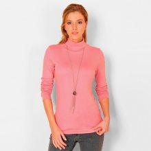 Blancheporte Jednobarevné tričko se stojáčkem a dlouhými rukávy růžová 50