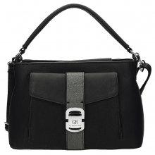 Pěkná černá kabelka s přezkou na přední straně