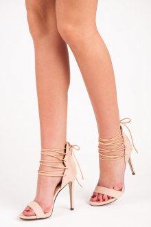 Dámské béžové semišové sandály s vázáním