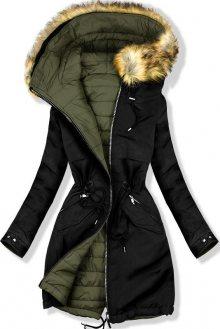 Oboustranná zimní bunda černá/khaki