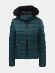 Petrolejová zimní prošívaná bunda s odnímatelnou kapucí TALLY WEiJL