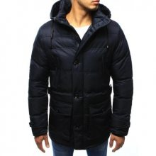 Pánská bunda zimní pruhovaná tmavě modrá