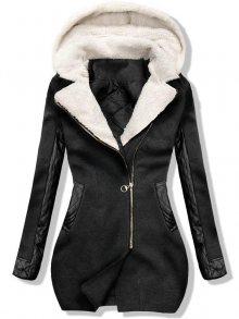 Grafitový zimní kabát s koženkovými detaily