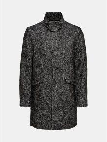 Tmavě šedý žíhaný kabát s odnímatelnou vsadkou u krku ONLY & SONS Severin