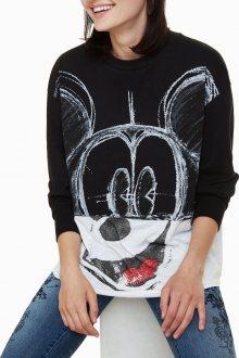 Desigual černo-bílý svetr Paris France s Mickey Mousem - S