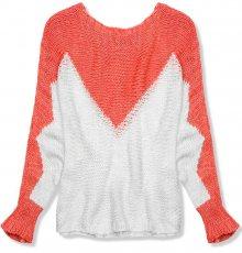 Korálový pulovr s netopýřími rukávy