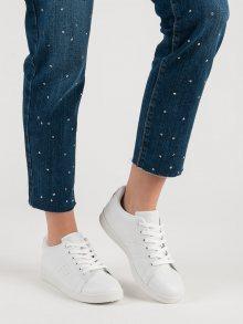 Moderní bílé tenisky dámské bez podpatku