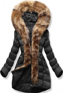 Černá zimní bunda s kožešinovým lemem