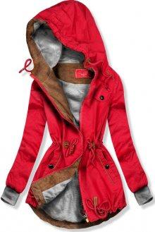 Červená jarní parka s kapucí