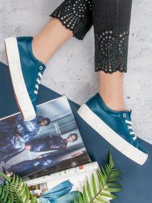 Designové dámské  tenisky modré bez podpatku