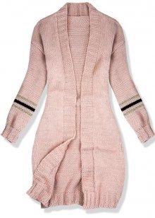 Růžový svetr s proužky na rukávech