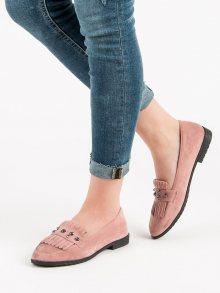 Výborné růžové  mokasíny dámské na plochém podpatku
