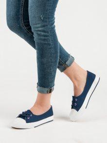 Komfortní modré dámské  tenisky bez podpatku