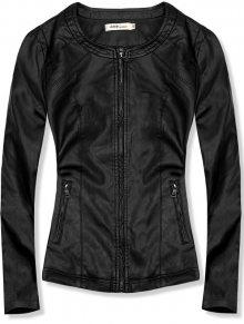 Černá koženková bunda s kapsami TD-120