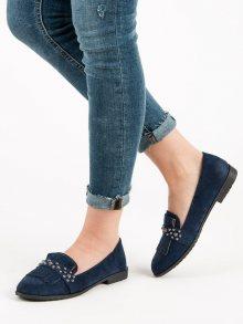 Praktické modré dámské  mokasíny na plochém podpatku
