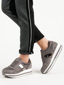 Exkluzívní šedo-stříbrné  tenisky dámské bez podpatku
