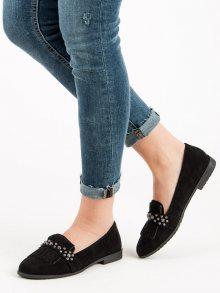 Módní  mokasíny černé dámské na plochém podpatku
