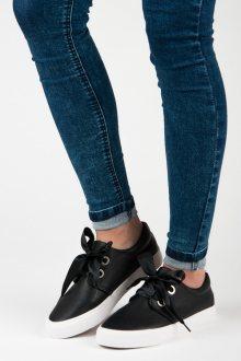 Komfortní dámské černé  tenisky bez podpatku