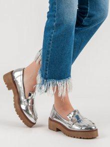 Komfortní šedo-stříbrné dámské  mokasíny na plochém podpatku