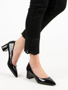 Komfortní dámské  lodičky černé na širokém podpatku