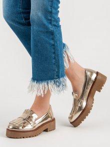 Trendy  mokasíny dámské šedo-stříbrné na plochém podpatku