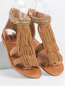 Originální hnědé dámské  sandály bez podpatku