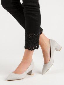 Trendy šedo-stříbrné dámské  lodičky na širokém podpatku
