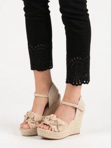 Stylové  sandály hnědé dámské na klínku