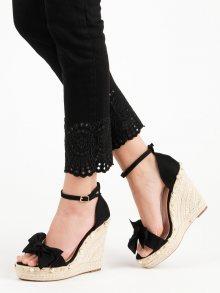 Exkluzívní  sandály černé dámské na klínku