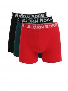 Sada tří boxerek v černé, zelené a červené barvě Björn Borg