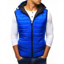 Pánská vesta prošívaná s kapucí modrá